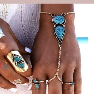 Jewelry - Boho Retro Turquoise Slave Tribal Ring Blacelet